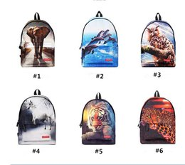 Wholesale Backpack Middle School - 3D High Middle School Students Cartoon Backpacks Traveling Bags Kids Students Backpack Causal Bag 6 colors RT 001