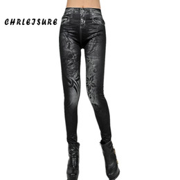 Wholesale Seamless Sexy Leggings - Wholesale- S-XL Woman Flowers Print Jeans Floral Leggings Denim Fashion Blue Black Seamless Denim Sexy Stretch Elastic Jeans Jeggings