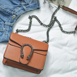 Wholesale Branded Head Phones - women famous brand Snake head buckle bag chain bag 2017 European small Shoulder Messenger Bags female designer handbags