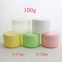 Wholesale Colored Plastic Bottles - colored empty round plastic tin containers 100ml, 100g cosmetic makeup packaging PP bottles jar with caps white pink yellow