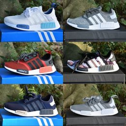 Wholesale Cheap Lace Shoes - With Box Adidas Originals NMD _R1 Primeknit Runner Boost 2017 Running Shoes S79162 S75234 Black Gray Blue Men Women Cheap Shoes Sneakers