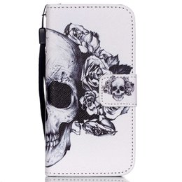 Wholesale Skull Cell Case - Skull Leather Wallet Protector Crossbones Shell Cell Phone Case with Strap Lanyard Pouch Flip Cover for iPhone 6s 6P 7 7P Samsung S7