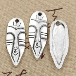 Wholesale Tribal Pendants Necklace Wholesale - Wholesale-99Cents 2pcs Charms tiki tribal mask 40*15mm Antique Making pendant fit,Vintage Tibetan Silver,DIY bracelet necklace
