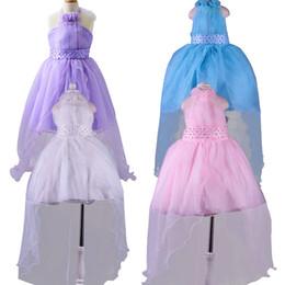 Wholesale Tutu Wholesale Korean Kids - Baby Girls Party Dress 2016 New Korean Kids Girls Princess Dresses Lace Long Tail Wedding Kids Dresses Girls Vestido Infantis