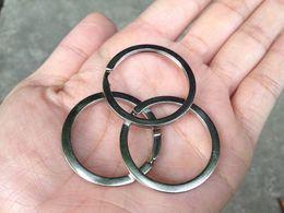 Wholesale Nickel Plated Steel - 32mm Flat Split Key Ring Shiny Bright Silver Plated Steel Nickel Hoop Loop Round 4g Bright Nickel Plated A473