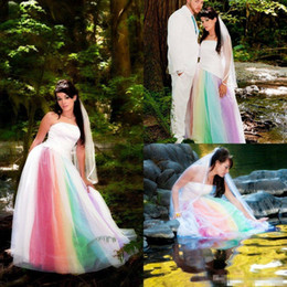 Wholesale Rainbow Vintage - Vestidos de noiva 2017 Colorful Rainbow Gothic Outdoor Wedding Dresses Strapless Red Purple Blue Exotic Bridal Gowns Robe de mariage