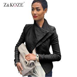 Wholesale Winter Coat Styles Women - Wholesale- Z&KOZE Women PU Leather Jacket Autumn winter Solid Color Brithish Slim black locomotive Style Long Sleeve Stand Collar Coat