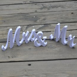 Wholesale Wholesale Wooden Wood Letters - Wholesale- 1PC Wooden Mr & Mrs Letters Sign Standing Top Table Wedding Decoration Party Lover Kit Party Decor