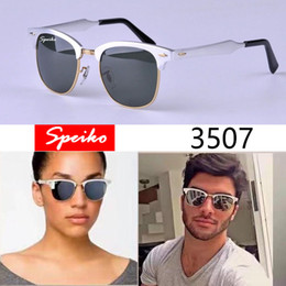 Wholesale High Quality Leather Coats Women - High Quality Sunglasses Aluminum magnesium Frame Green Classic G-15 Lenses SPEIKO 3507 Men Women Sports Sunglasses UV380 with Leather box