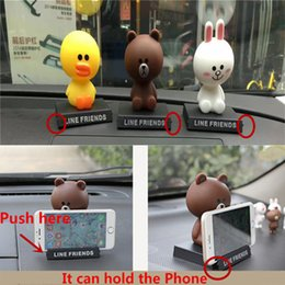Wholesale Shake Dolls - Wholesale Line Friends Head Shaking Toy Car Ornament Decoration Phone Holder Cute Doll Toy Free Ship