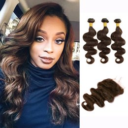 Canada 3 faisceaux avec fermeture à lacets couleur 2 4 faisceaux de cheveux brun foncé de vague de cheveux brutes vierges indiennes extensions de cheveux humains partie centrale libre cheap body wave hair extension brown Offre