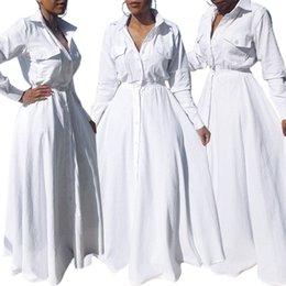 Oscillare online-Moda donna Turn-down Collor Buttons Down White Dress Front Tasche a vita alta Max Swing Slim Tunica Maxi abiti lunghi