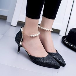 Wholesale Pump Weaves - Koovan Women Pumps 2017 New High Heel Point Small Shoes Fashion Pointed Bead Low Shoe Women's Shoes Woven Ladies Pump