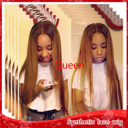 Wholesale Cheap Ombre Wigs - Sexy 2 Tones 1 27# Ombre Silky Straight Hair Glueless Brazilian Synthetic Lace Front Wigs wth baby hair Cheap Wigs for Black Women