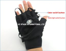 Wholesale Glove Dj - Wholesale-Red Green Laser Gloves Dancing Stage Show Light With 4 pcs lasers and LED palm light for DJ Club Party Bars