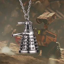 Wholesale Robot Charm Vintage - Retro European Doctor Who Dalek Pendant Necklace Vintage Alien Robot Chain Necklaces Statement Jewelry for Man and women