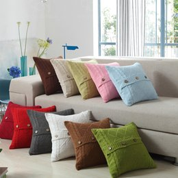 Wholesale Decorated Pillows - Pillow Case Soft Cotton Knitted Cushion Diamond Button Decorate Pillows For Home And Car Pillowcase Multi Color Optional 22nw F R