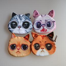 Wholesale Novelty Makeup - Wholesale- Novelty coin purses Cute Dog   Cat Face Zipper Case Coin Purse Wallet Zipper Case purse Makeup Buggy Bag Pouch Clutch Bag