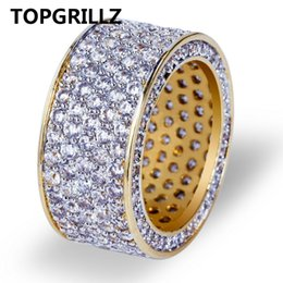 Wholesale Hip Rings - wholesale New Fashion Gold Color Plated Micro Pave Cubic Zircon Round Ring Full Iced Out Bling Hip Hop Rock Jewelry For Male