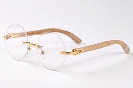 Wholesale Butterfly Clubs - 2017 Buffalo Horn Glasses Round Sunglasses Frame Rimless Sunglasses Men Brand Designer Sunglasses for Driving Club Luxury Eyewear