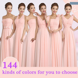 Wholesale Cheap Long Prom Dresses Wholesale - 2017 hot Peachy Pink Winter Wedding Party Bridesmaid Dress Long Cheap Chiffon Prom Bridesmaid Dresses Wedding Party Dress