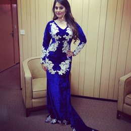 Wholesale Exotic Fashion - 2016 Exotic New Design Lace Appliques Long Sleeve Mermaid Royal Blue Velvet Evening Dresses from Dubai Arabic Sweep Train Formal Prom Gowns