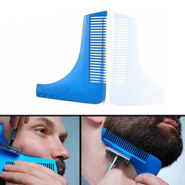 Wholesale Men Blue Hair - Beard Bro Beard Shaping Tool Styling Sharper Comb Men Perfect Lines Facial Hair Beard Trim Template Modelling Tools 10 Colors Stock