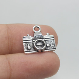 Wholesale Camera Pendant Charm - 60pcs 16x14mm Tibetan silver plated camera Charm Pendant for Jewelry Making