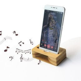 Wholesale Wooden Mobile Phone Holders - Real Natural Bamboo Wood Holder for mobile phone Handmade Bamboo Phone Stand for cell phone accessrios Wooden Speaker