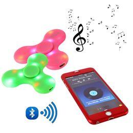 Wholesale Fingers Music - Mini Bluetooth Music Fidget Spinner LED Light Sensory Fidgets Autism ADHD EDC Spinners Hand Anti Stress Funny Toys 4 Colors