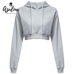 Vente en gros-AZULINA Casual Grey Black Cropped Hoodies Pulls Femme Sweat-shirt d'hiver Sexy Gris Court Crop Hoodie pour les femmes Survêtement ? partir de fabricateur