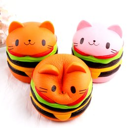 Wholesale Wholesale Cat Ornaments - Burger Cat Squishy Adult Anti Stress Toy Squishies Animal Shape Slow Rebound Ornament Arts And Crafts Gift Orange 22sq C
