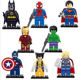Wholesale Avengers Iron Man - 600pcs lot Marvel Super Heroes avengers Hulk Batman Spiderman Superman Wolverine Deadpool Iron Man Thor Building Blocks Model Bricks Toy 818