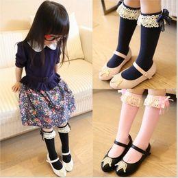 Wholesale Dress Socks Girls - 20Baby Girls Princess Knee High Socks Korean Style Baby Girls Lace Bow Stocking Pure Cotton Leg Warmers Dress Match Kids Knee Pad Sock Q0982