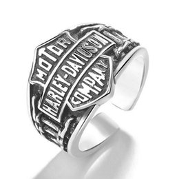 Wholesale Wholesale Jewelry China Bulks - Vintage Silver Harley motorcycles Rings mens adjustable Biker Letter bulk rings For men man Fashion Creative Punk Jewelry