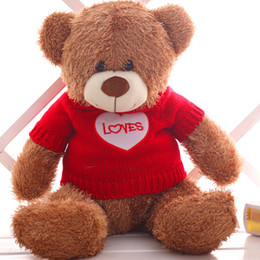 Wholesale ted teddy bear stuffed animal - Wholesale- Hot 60cm 80cm Kawaii giant Teddy Bears Plush Soft Toys Stuffed Animals Ted Dolls With Ribbons Girlfriend And Children's Gift