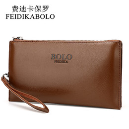 Wholesale Cheap Browning Wallets - FEIDIKABOLO Male Leather Purse With Coin Bag Men's Clutch Wallets Handy Bags Cheap Carteras Mujer Wallets Men Black Brown Khaki