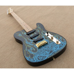 Wholesale blue artists - Custom Shop Artist Series James Burton Signature Telecaster MN Blue Paisley Flames Electric Guitar Maple Neck Black Dot Inlay Drop Shipping