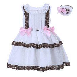 Wholesale Headwear Styles - Pettigirl White Summer Girls Lace Dress Sleeveless Brown Applique Baby Princess Dress With Headwear Bow Children Clothing G-DMGD001-1284
