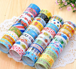 Wholesale Kawaii Deco Tape Wholesale - Wholesale- 2016 Japanese Kawaii Adhesive Tape Candy Colors Lovely Deco Album Scrapbooking Cute Cartoon Washi Masking Tape paper Sticker PVC