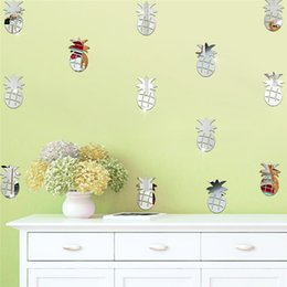 Wholesale Design Home Switch - 12Pcs Acrylic Removable Mirror Wall Stickers Kids Room Decorative Wall Sticker DIY Craft Pineapple Stickers Home Decoration