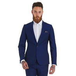 Wholesale Men S Tux - Custom made man`s suits two pieces tux Notch Lapel Groom Tuxedos evening Wedding Slim Fit blue best man Suits (Jacket+Pants )