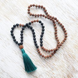 Wholesale Tassel Mala - Knotted Necklace 108 Mala Beads Bodhi knotted necklace Lava Stone necklaces Prayer Beads Tassel necklaces Buddhist Jewelry