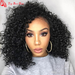 Wholesale Cheap Curling Full Lace Wigs - Full Lace Human Hair Wigs For Black Women Kinky Afro Curl Lace Wig Cheap Mongolian Virgin Hair Full Lace Afro Half Wig