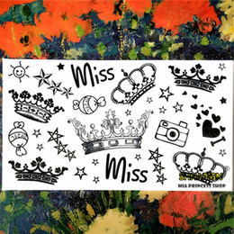 Wholesale Imperial Crown Tattoos - Wholesale- Imperial Queen Crown Temporary Tattoo Body Art Arm Flash Tattoo Stickers 17*10cm Waterproof Fake Henna Painless Tattoo Sticker