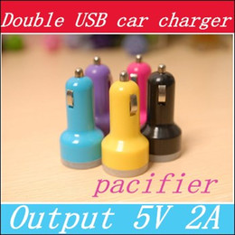Wholesale Smart Lighters - For iPhone 6s 6s plus USB Dual Car Charger Input 12-24VDC Output 5V 2A Colorful Mini cigarette lighter Universal Smart Car ChargerB3