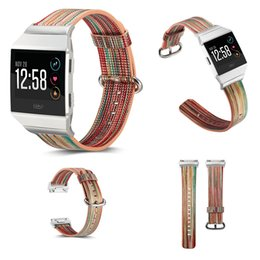 Wholesale Wholesale Leather Straps For Bracelets - 38mm 42mm Fitbit ionic Leather Watch Band Wrist Strap Bracelet Replacement New Arrival Color Drawing Smart Sport watch band OPP Bag