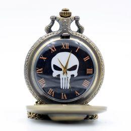 Wholesale Necklace Skull Pocket Watch - Wholesale-Vintage Retro The Punisher Skull Dial Roman Numeral Quartz Pocket Watch Analog Pendant Necklace Men Women Watches Chain Gift