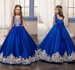 Wholesale Elegant Gowns For Little Girls - 2017 Long Royal Blue Lace Vintage Wedding Flower Girl Dresses with Bow Sash Elegant Kids Communion Evening Gowns for Children Little Girls