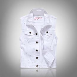 Toptan-Ücretsiz Kargo 2017 Yaz erkek Kot Yelek Ceket Moda Beyaz Kolsuz Artı Boyutu Kot Yelek Rahat Kısa Tasarım Yelek nereden